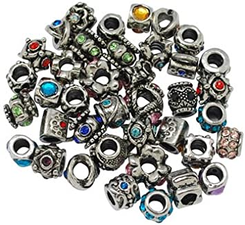 10 pcs Antique Silver 12mm Round Large Hole Alloy European Beads Crafts Hole 5mm