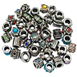Buckets of Beads 10-Pack of Assorted European Style Crystal Rhinestone Charm Beads For Most Major Charm Braclets
