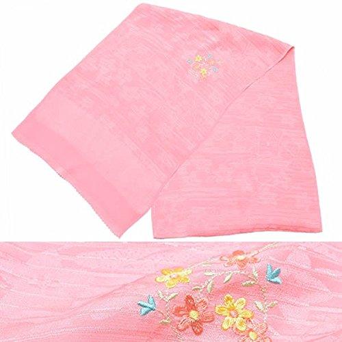 [ 京都きもの町 ] 夏用 正絹帯揚げ ピンク お花刺繍 絽 和装小物 夏帯揚げ 洒落小物