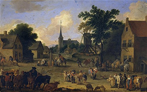 The High Quality Polyster Canvas Of Oil Painting 'Bout Pieter La Plaza De La Aldea 1678 ' ,size: 18 X 29 Inch / 46 X 73 Cm ,this Replica Art DecorativeCanvas Prints Is Fit For Wall Art Gallery Art And Home Decoration And Gifts