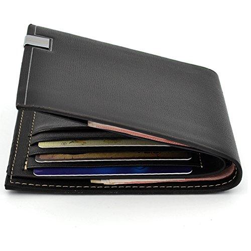 Amy Stylish Men's Wallet Purse Credit Card Wallet Bag Men PU Leather Purse Clutch Bifold + Ranboo 2 in 1 Stylus - Black