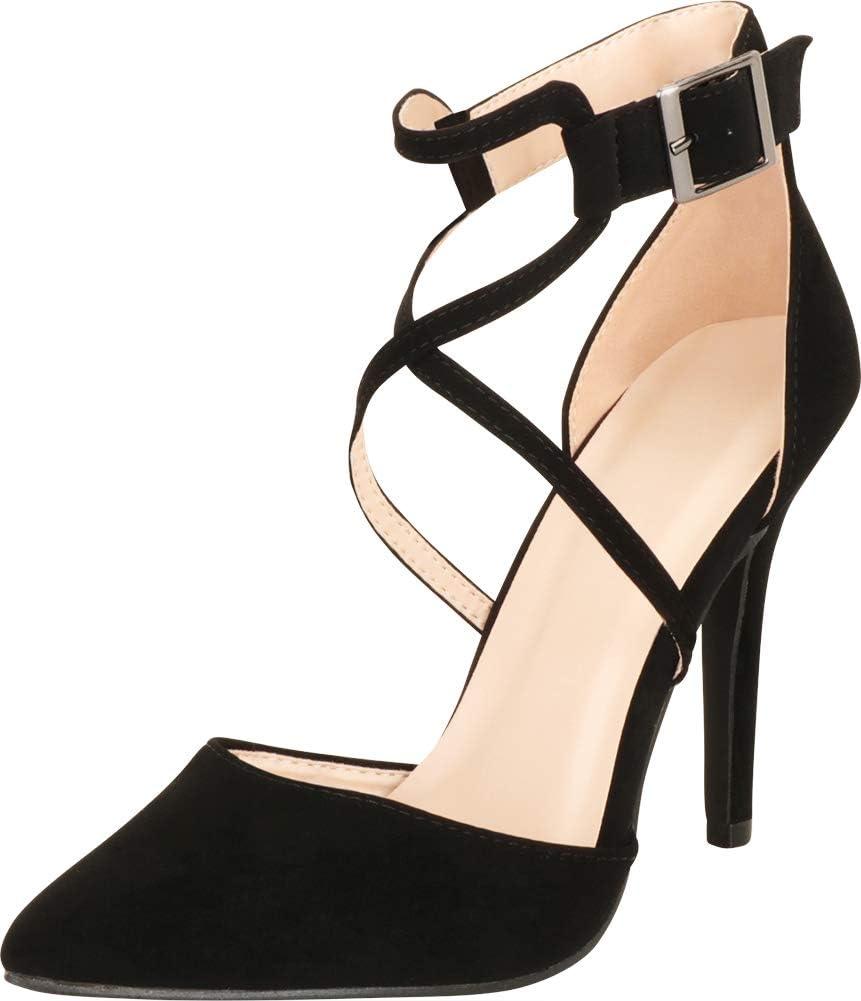 حذاء نسائي من كامبريدج سيليكت بأشرطة متقاطعة عند الأصابع مدبب وكعب عالٍ, (اسود ان بي بي يو), 36 EU