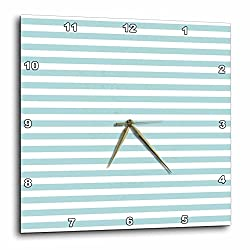 3dRose Anne Marie Baugh - Stripes - Pretty Light Blue and White Bold Stripes - 10x10 Wall Clock (dpp_283080_1)