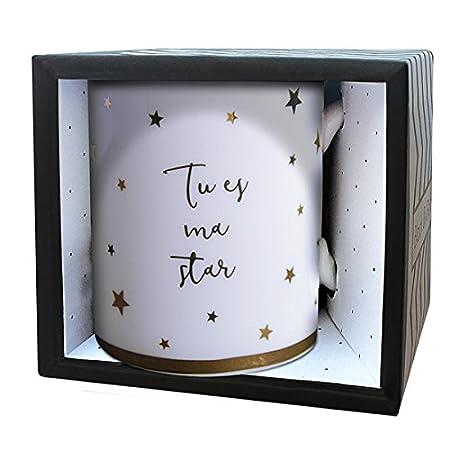 Colore: Nero//Oro Tazza in Porcellana LA CARTERIE 76000539 Tu es ma Star 11,6 x 9,5 x 8,2 cm
