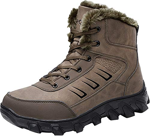 Barerun Mens Hiking Boots Fully Fur Lined Outdoor Shoes Brown 7 D(M) US ()