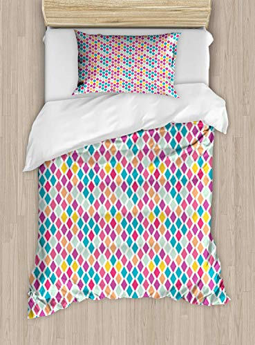 VROSELV-HOME Geometric Duvet Cover Set Twin Size Rhombus Shapes Abstract Illustration Rainbow Colored Geometric Angular Pattern,Kids Bedding - Double Brushed Microfiber,Multicolor