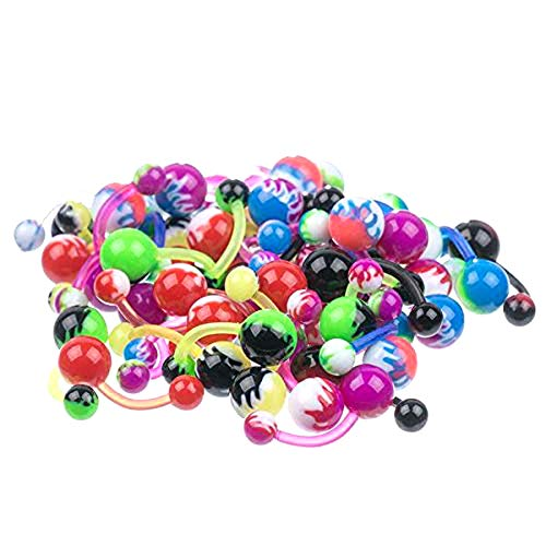 (LOT 50 pcs UV Flames Assortment Flexible Belly Button Rings)