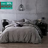 Kiss&tell 100% Egyptian Cotton Duvet Cover Sets, Solid Color Soft Duvet Cover King Silver Grey