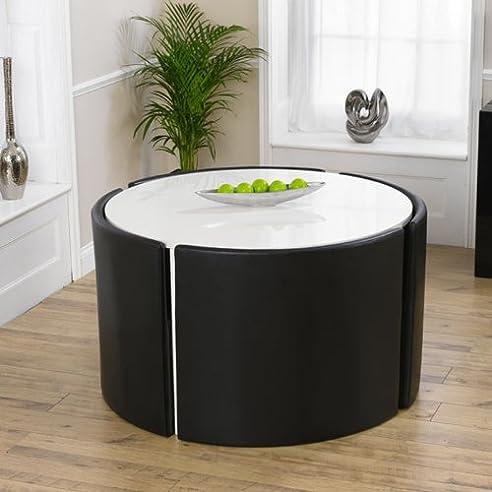 glänzend weißer runder tisch mit 4 stühlen