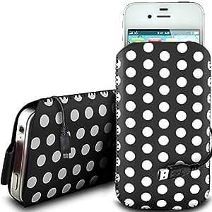 N4U Online - Nokia Asha 202 PU protector Polka de cuero con cremallera diseño antideslizante de cordón en la bolsa del caso con Quick Release y datos cable de carga USB - Negro