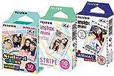 Fuji Instax Mini Stained Glass, Stripe and Airmail Films (Mini 8/50s, Mini 90, Mini 25) (Pack of 3)