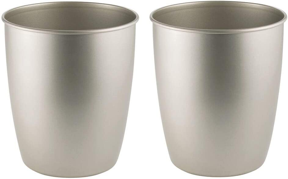 mDesign Round Metal Small Trash Can Wastebasket, Garbage Container Bin for Bathrooms, Powder Rooms, Kitchens, Home Offices - Steel - 2 Pack - Satin