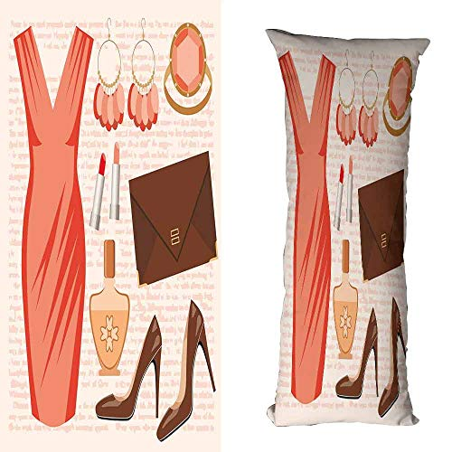 Customized Pillowcase Heels and Dresses Accessories Fashion Cocktail Dress Lipstick Earrings High Heels Without core W16 xL47 Salmon Brown Peach