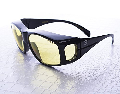 (NoScope Golem Yellow Lens Video Game Gaming TV Computer Glasses   Anti Blue Rays Protection & Glare Free   Fit Over Glasses   Reduce Eye Strain and Fatigue   PS4 Xbox One - Polycarbonate Frame, Black)