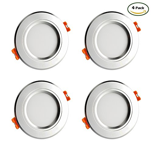 GALYGG Trichromatic dimming LED Downlight Ceiling Panel Light4W40W Equivalentcan Switch of 3 Colors-Cool WhiteNeutral WhiteWarm WhiteEmbedded Lighting Fixture3 Inch Silver edge 4 Pack