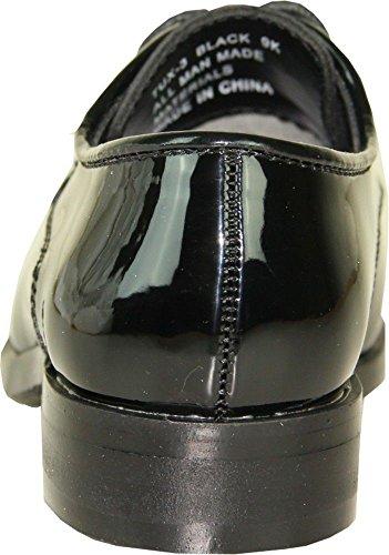 bravo! Zapatos Para Hombre Vangelo Tuxedo Tux-3 Zapatos Para Vestido Sin Arrugas Oxford Formal Patente Negra