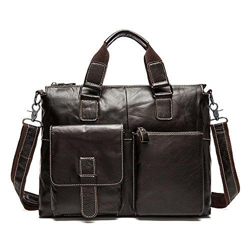 stepack marca hombres de piel auténtica bolso bandolera bolso de mano bolso bandolera para maletín marrón talla única Dark Coffee