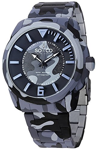 SO&CO New York Men's 5007.2 SoHo Quartz Blue Camouflage Stainless Steel Link Bracelet Watch