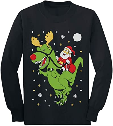T Rex Santa Ride Funny Ugly Christmas Sweater Toddler Kids Long Sleeve T Shirt