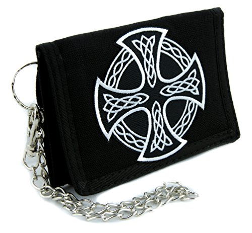 Anarchy Wallet (Celtic Cross Tri-fold Wallet with Chain Alternative Clothing Sons of Anarchy Biker)