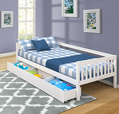 Pine Twin Size Daybed - Haper & Bright Designs Storage Bed Tiwn Size Daybed with 3 Drawers, White (White)