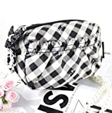 Retro Plaid Pouch Black and White