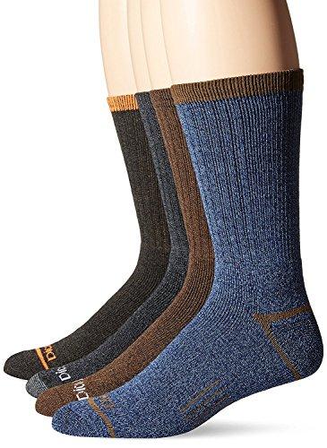 Dickies Men's 4 Pack Split Rib Moisture Control Crew Socks,Navy,Sock Size:10-13/Shoe Size: 6-12 Regular