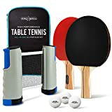 PRO SPIN All-In-ONE Portable Ping Pong Set - Retractable Net For Any Table, 2 Premium Ping Pong Paddles, 3-Star Table Tennis Balls, Convenient Storage Case - Indoor & Outdoor Games, Dining Table, Office, Vacation, Travel | Great Gift for Boys, Girls, Teen