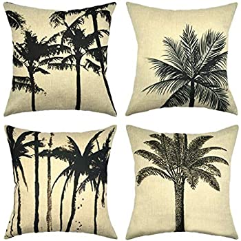 """Asamour Summer Tree Throw Pillow Covers 18''x 18/"""" Set of 4 Hawaii Coconut Palm"""