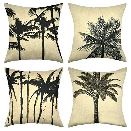 (Set of 4 Coconut Palm Tree Decoration Linen Throw Pillow Case Cushion Cover Outdoor Sofa Home Pillowcase 16x16 Inch)