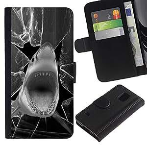 UNIQCASE - Samsung Galaxy S5 V SM-G900 - Funny Shark Screen Attack - Cuero PU Delgado caso cubierta Shell Armor Funda Case Cover