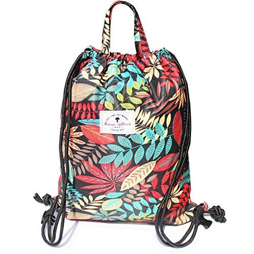 Drawstring Backpack Original Floral Leaf Tote Bags Sackpack