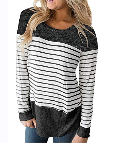 Womens Tops Long Sleeve T Shirt Color Block Varsity Striped Shirt Casual Tunic Blouse