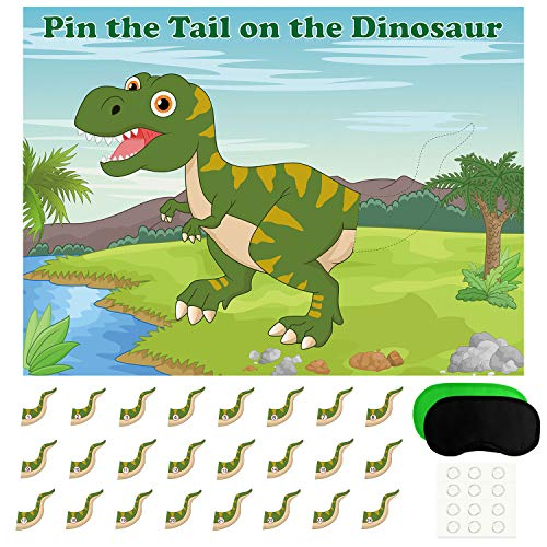 FEPITO Pin The Tail on The Dinosaur Game with 24 Pcs Tails for Dinosaur Birthday Party Supplies, Boys Dinosaur Party -
