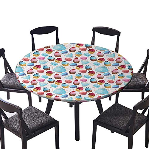 (Round Tablecloths and Cups with Polka Dots Macarons Cupcakes with Berries Sweet Pattern Blue Pink or Everyday Dinner, Parties 67