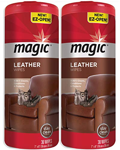 Magic Leather Wipes [2 Pack] Clean Condition UV Protection Help Prevent Cracking or Fading of Car Seats & Interior, Shoes, Couches and Other Leather Surfaces
