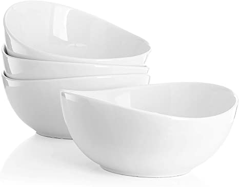 Sweese 103 401 Porcelain Bowls 28 Ounce For Cereal Salad And Desserts Set Of 4 White Kitchen Dining