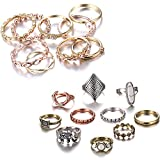 Gmai Bohemian Vintage Women Crystal Joint Knuckle Nail Ring Set of 10 pcs Finger Rings Punk Ring Gift (Gold+Boho)