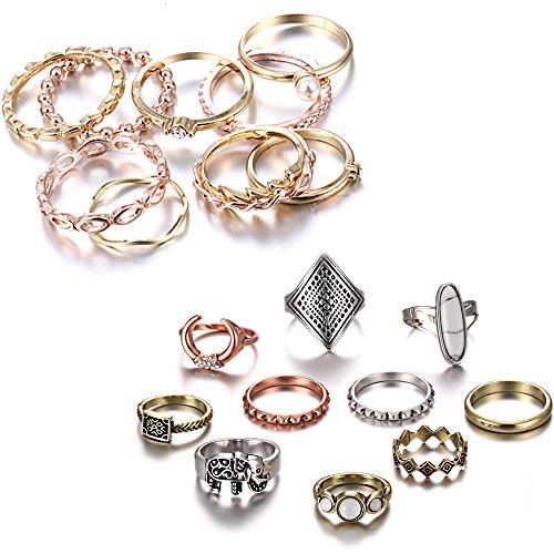 - Gmai Bohemian Vintage Women Crystal Joint Knuckle Nail Ring Set of 10 pcs Finger Rings Punk Ring Gift (Gold+Boho)