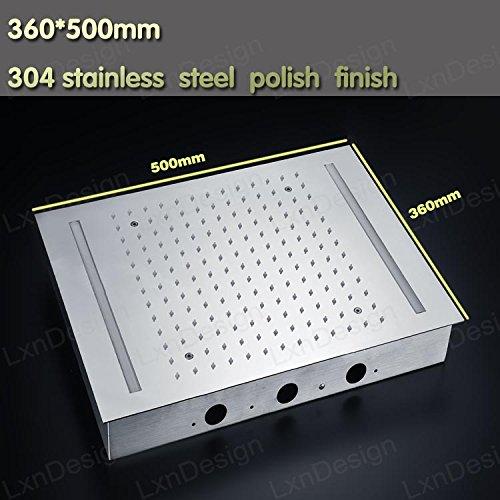 Gowe 360500mm Stainless Steel Chrome Ceiling Rain Big Shower Head And Massage Spray Jets Bathroom Rainfall Shower Set 0