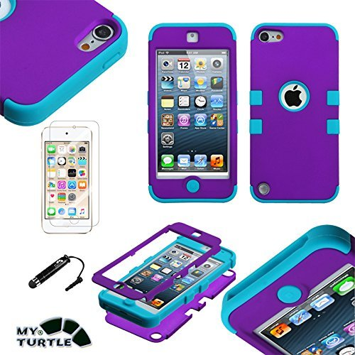 MYTURTLE Shockproof Hybrid Case Hard Silicone Shell High Impact Cover with Stylus Pen and Screen Protector for iPod Touch 5th 6th Generation, Quicksand Butterflies Purple Glitter