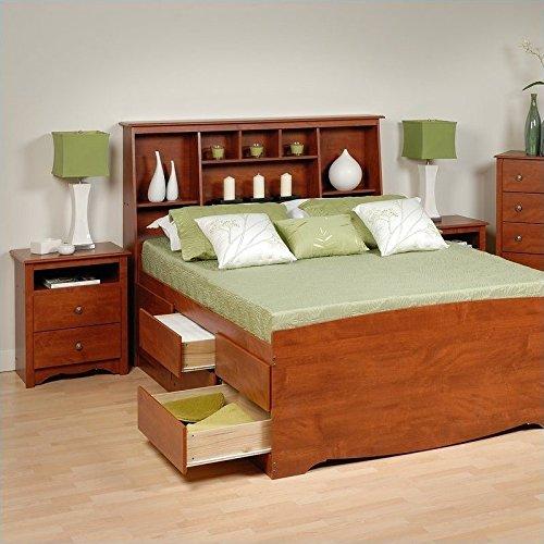 (Prepac Monterey Cherry Tall Queen Wood Platform Storage Bed 4 Piece Bedroom Set)