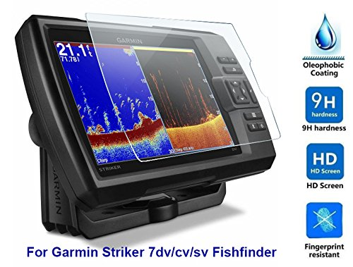 Premium 100 % Real Tempered Glass Screen Protector Film For Garmin Striker 7dv/7cv/7sv Fishfinder GPS ()