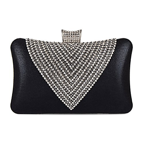 Clutches Envelope Rhinestone Black Women's Handbags Bag Beaded Evening 7BfWEEOwzX