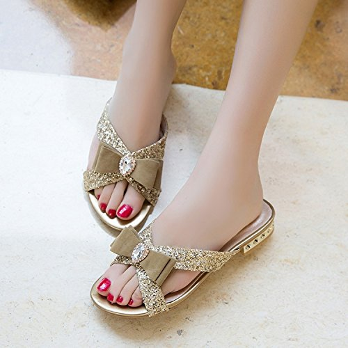 ZYUSHIZ Les Chaussons Femme Dew-Cool Chaussons Papillon doux confort Loisirs à faible cache des sandales, l'or, 36EU
