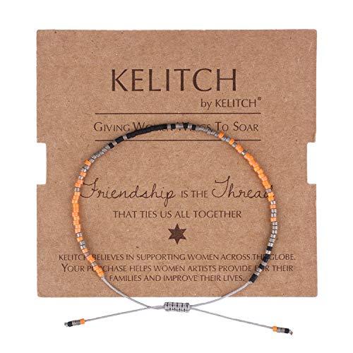 KELITCH Simple Friendship Bracelet Handmade Adjustable Seed Beaded String Strand Bracelet Fashion Charm Jewelry Girl Women(Bright Orange)