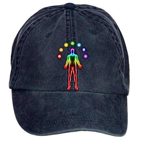 [HEHEHAT Body Meditation With Chakras Baseball Washed Cap Hat] (Megaman Hat)