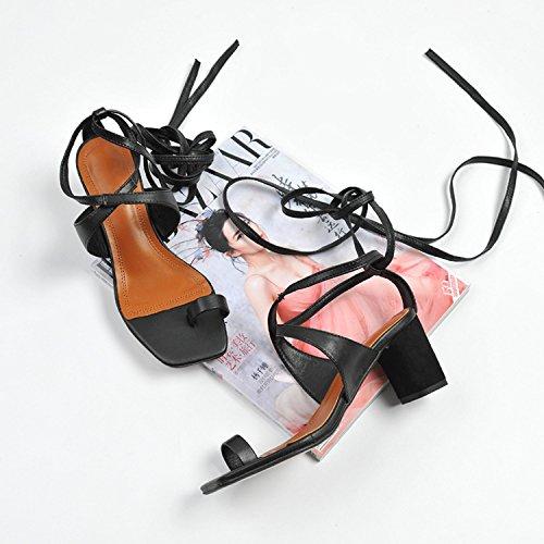 Noir Pour Et 35 Sandale Talons Polyvalente Sandales Femmes Carr Bout lgante ROfzfBqw
