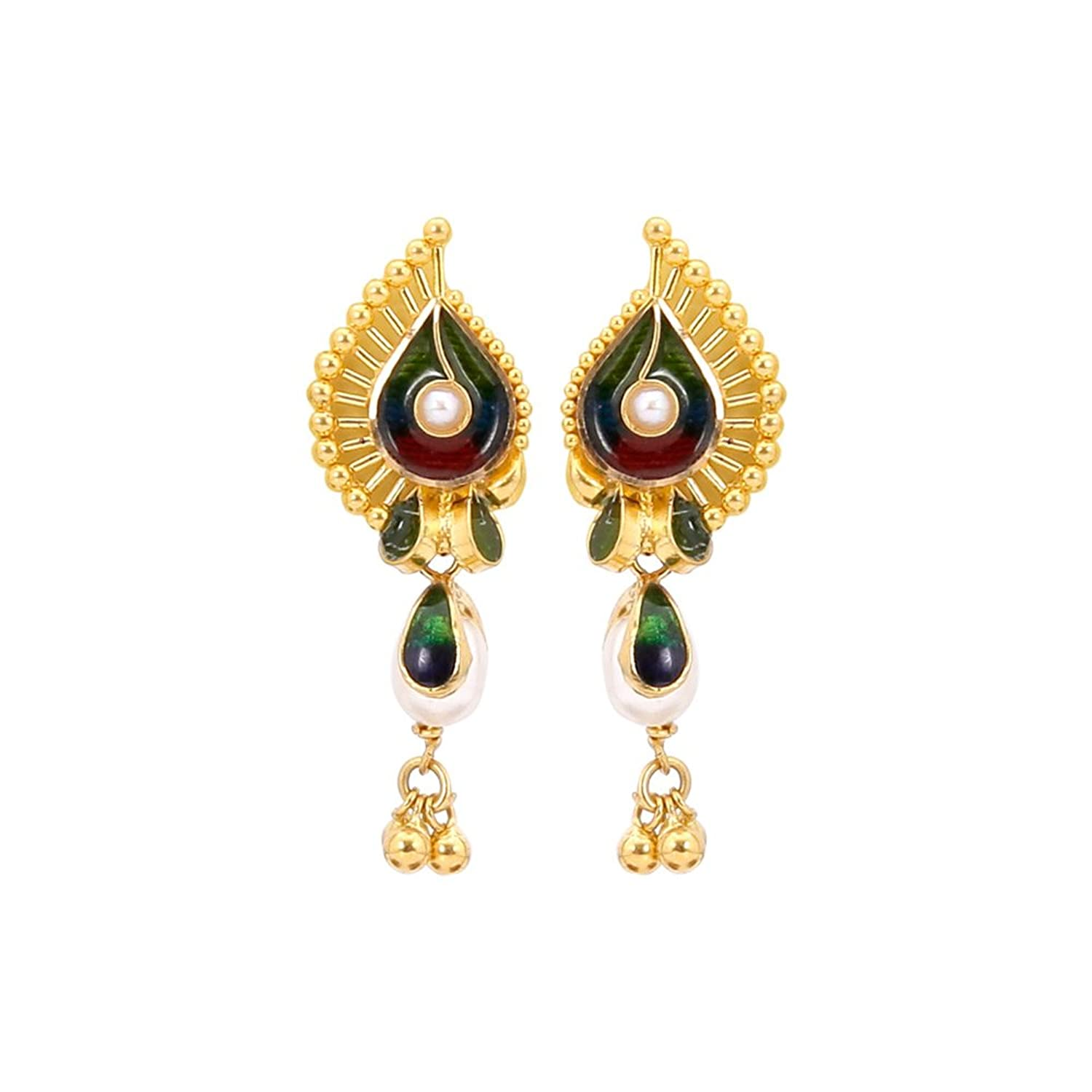 bhagat earrings with stud tictail plain post bhagatjewels handmade gold plated jewels brass