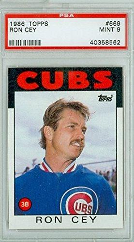 1986 Topps Baseball 669 Ron Cey Chicago Cubs PSA 9 Mint Ron Cey Baseball